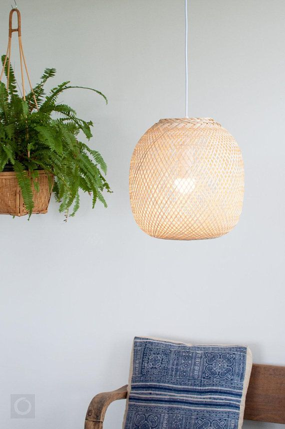 Bamboo Pendant Light Round Woven Bamboo Hanging Lamp Re Purposed
