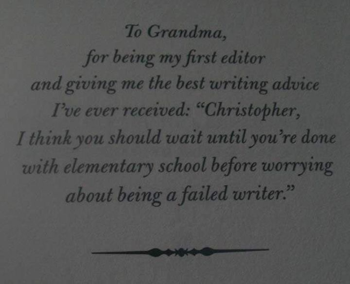 Book dedication from The Land Of Stories by Chris Colfer
