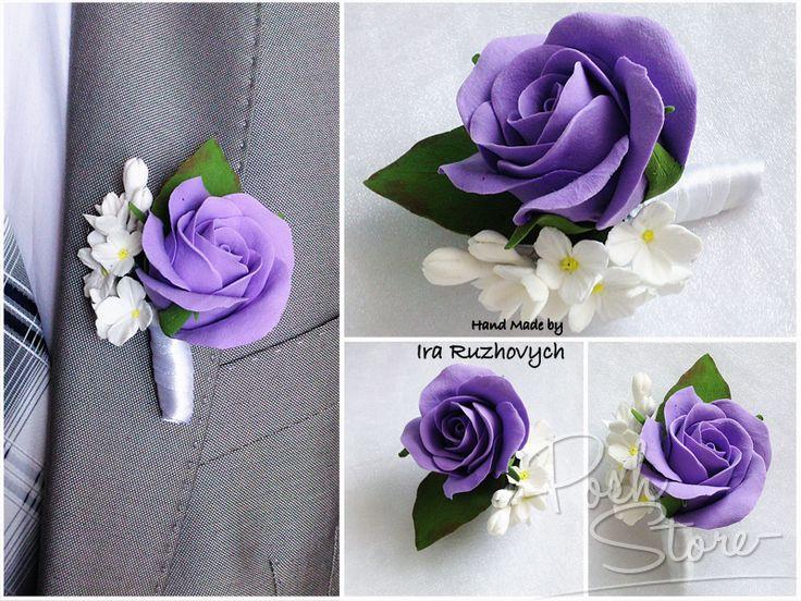 Бутоньерка фиолетовая роза Купить в интернет магазине.