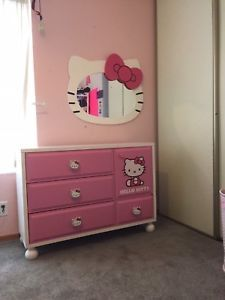 Hello Kitty Solid Wood Furniture Dresser Nightstand And Wall Mirror