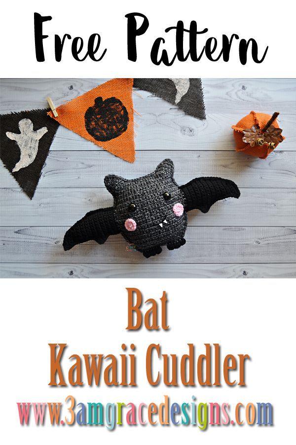 Kostenlose Häkelanleitung für Fledermaus Amigurumi Kawaii Cuddler ...