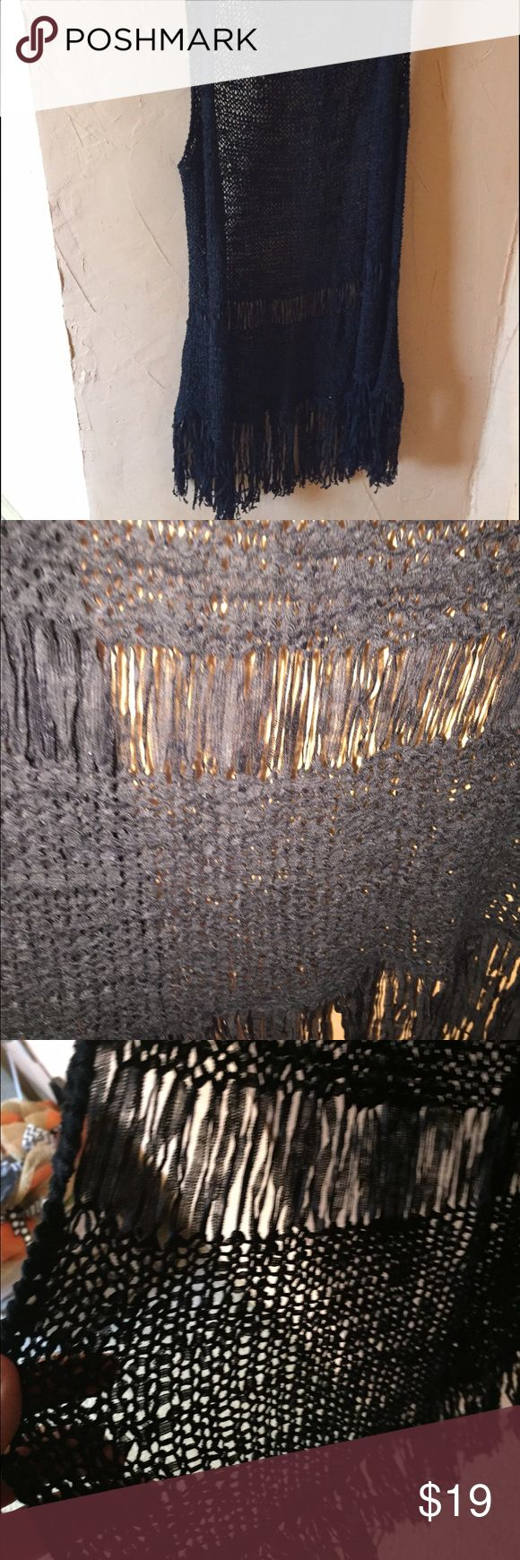 Black tunic vest Black tunic vest with fringe and lace details Maurices Other