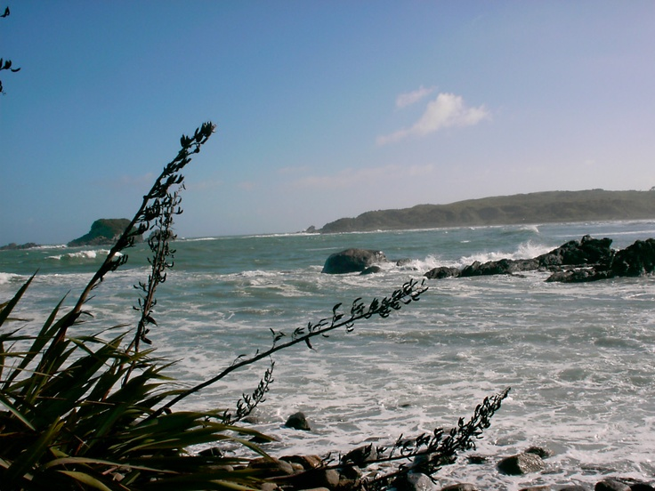 Cape Foulwind, West Coast of south Island of NZ. View from Bay House Cafe - served wonderful breakfasts - good times - 2003