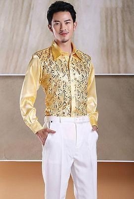 Men s Formal Wedding Shirt Patterned Long Sleeve Silk Satin Casual ... fde76c272646