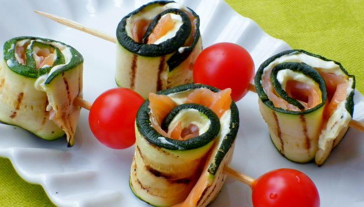 Spiedini di zucchine e salmone