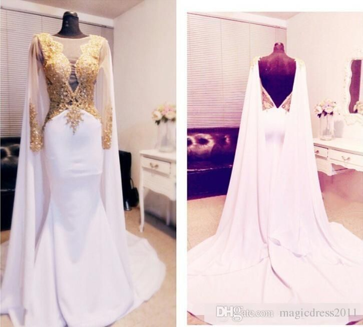 Elegant Arabic Beaded Gold Appliques Prom Dresses Long Sleeve 2016 With Cape Backless Formal Evening Gowns 2015 Kftan Red Carpet Party Dress