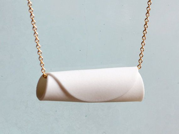 Porcelain Necklace – White Ceramic Roll – Gold Cha…