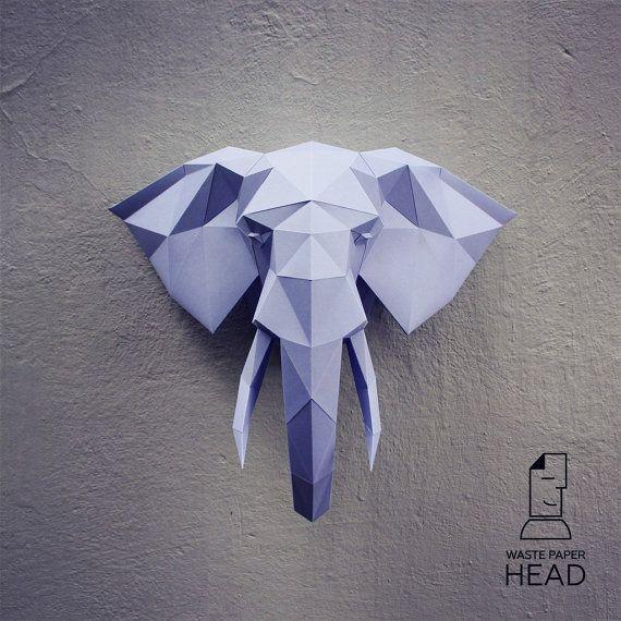 Plantilla papel elefante de cabeza 2-impresión por WastePaperHead                                                                                                                                                                                 Más