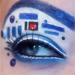 Robot themed eye make-up.