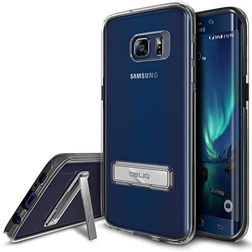 Galaxy S7 Edge Case OBLIQ [NaKED SHIELD][Black][Metal Kickstand] Slim Fit Crystal Clear Scratch Resist Heavy Duty Protection Dual Layer Case for Samsung Galaxy S7 Edge