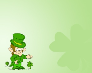 Free St. Patrick's Day PowerPoint template with clovers and green background