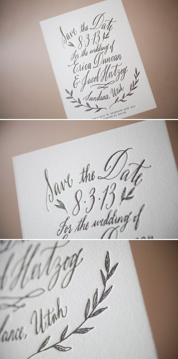 Letterpress save the dates, with whimsical calligraphy by Maybelle Imasa-Stukuls | bella figura