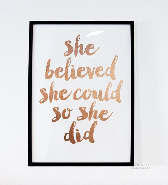Printable Women Gift She Believed She Could So by FleurtCollective