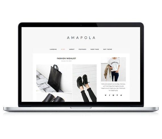 Wordpress Theme - Amapola - Responsive Wordpress Blog Design - Wordpress WOOCOMMERCE - Wordpress Theme Feminime - Wordpress Theme Modern