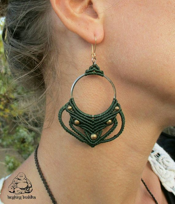 Handmade macrame earrings in cypress green color of waxed thread, with brass beads in decoration. Hooks are gold nickel free, but can be changed