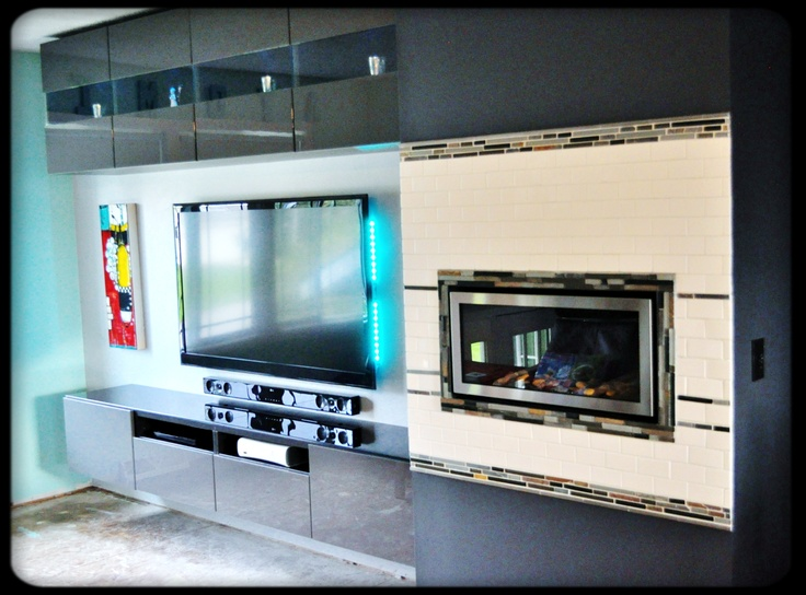 Living Room Wall With Floating Besta Cabinets The