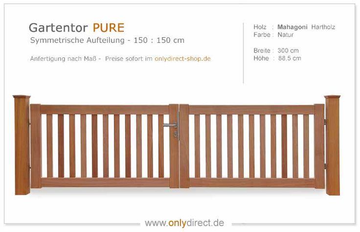Exklusives Gartentor Holz mit nostalgischem Satteldach