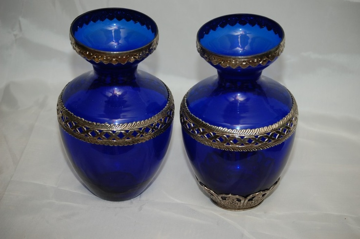 ANTIQUE VASES WITH SILVER BANDING