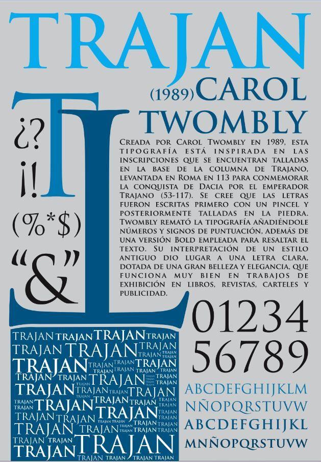 Tipografía. Cartel tipográfico. Fuente tipografica: Trajan. Familia: Romana