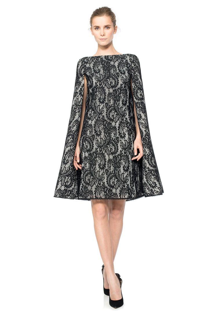 corded lace spacer mesh cape dress tadashi shoji