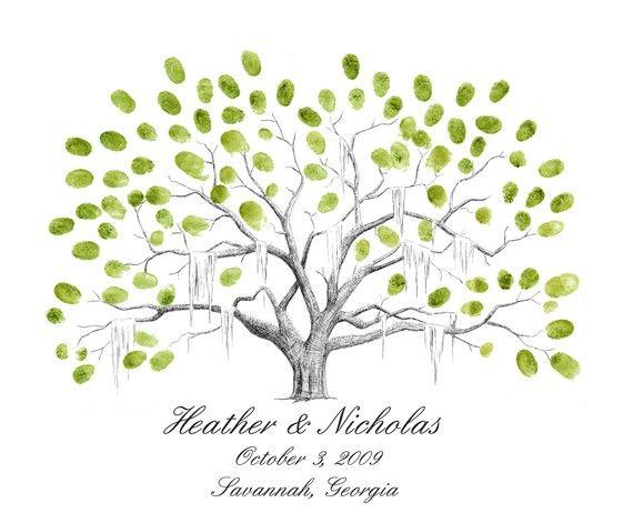 Savannah Live Oak Thumbprint Tree Wedding Guestbook Alternative MEDIUM on Etsy, $90.00