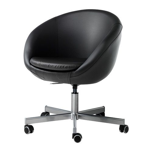 IKEA - SKRUVSTA, Swivel chair, Idhult black, , You sit comfortably since the chair is adjustable in height.The castors are rubber coated to run smoothly on any type of floor.