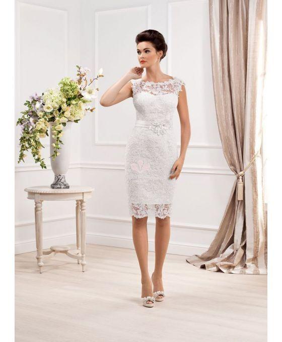 Abito da Sposa Corto in Pizzo Avvitato Tubino Economico Online Accollato - Short lace wedding dress available online