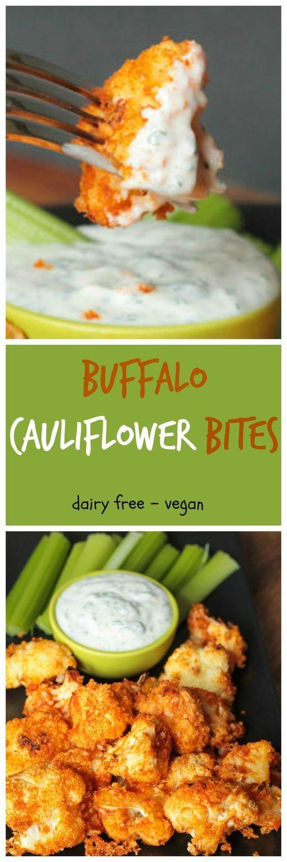 Buffalo Cauliflower Bites and Cheater Vegan Ranch Dip