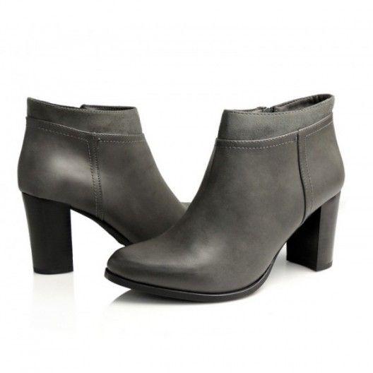 Sivé dámske členkové čižmy s hrubým podpätkom - fashionday.eu