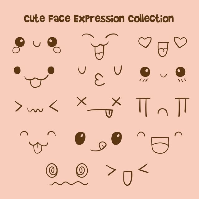 Cute Face Expression Collection Set Fun Anime Comic Png And Vector With Transparent Background For Free Download Gesichtsausdrucke Emotionsgesichter