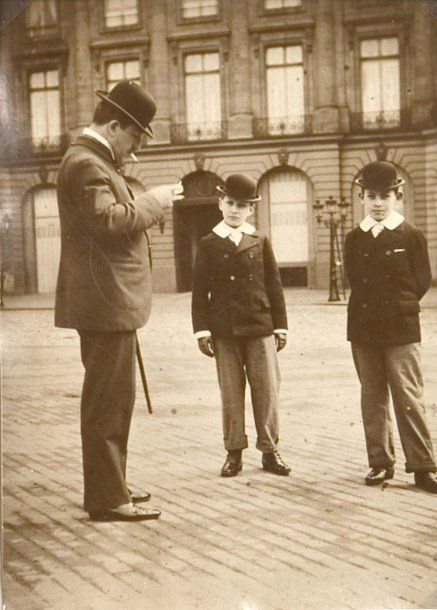 Lucien Guitry and his two sons Jean (far right) and Sacha, Place Vendôme, Paris 1890's.