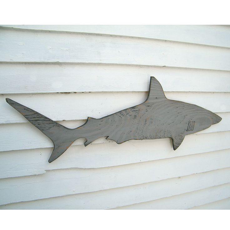 Wood Shark Sign Medium Wall Art Mako Shark Sign Beach Coastal Nautical Wooden Sign Indoor or Outdoor. $64.00, via Etsy.