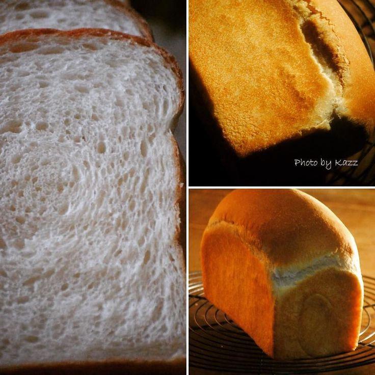 先日ホップ種を継いだので  #ホップス を #ワンローフ で焼きましたん(人 ᴗ)   ふわーんふわん   ちょいと控えめな伸び方だけど 美味しく焼けました   コールスローサラダを作ったから 明日はサンドにしようかな    #自家製酵母 #自家製酵母パン #食パン #ガスオーブン #パン #手作りパン #ホップ種 #クラム #キタノカオリ #bread #naturalyeast  #夜撮りムズイ by kazz220