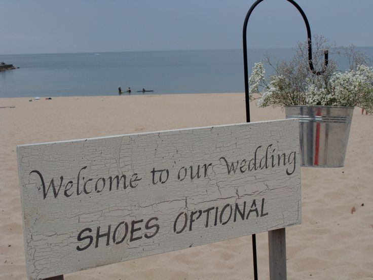 Handmade Welcome to our Wedding Shoes Optional Vintage Beach Wedding Sign. $39.95, via Etsy.