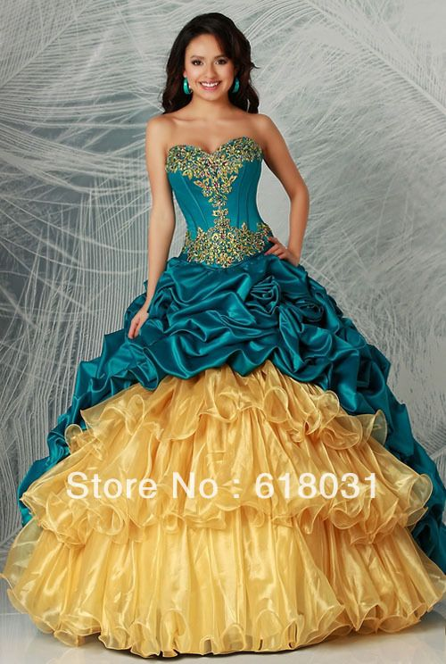 Luxuriously sweetheart neck embroidery with beading sweep 2014 rufflus turquoise and gold multi colurs Quinceanera 15 Dresses -in Quinceanera Dresses from Apparel  Accessories on Aliexpress.com
