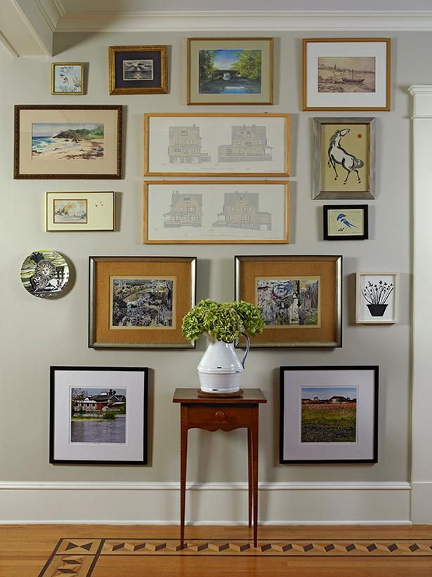 """Get the Look: Create a Gallery Wall:  """"The easiest way to inject the 'curated' look into your home: Hang your pictures and objects 'salon'-style as a gallery wall,"""" Lynn says. This gallery wall in her home includes architectural drawings of the house, a Fornasetti plate, a print by Hugo Guinness and art sourced on Etsy and at thrift shops and flea markets."""
