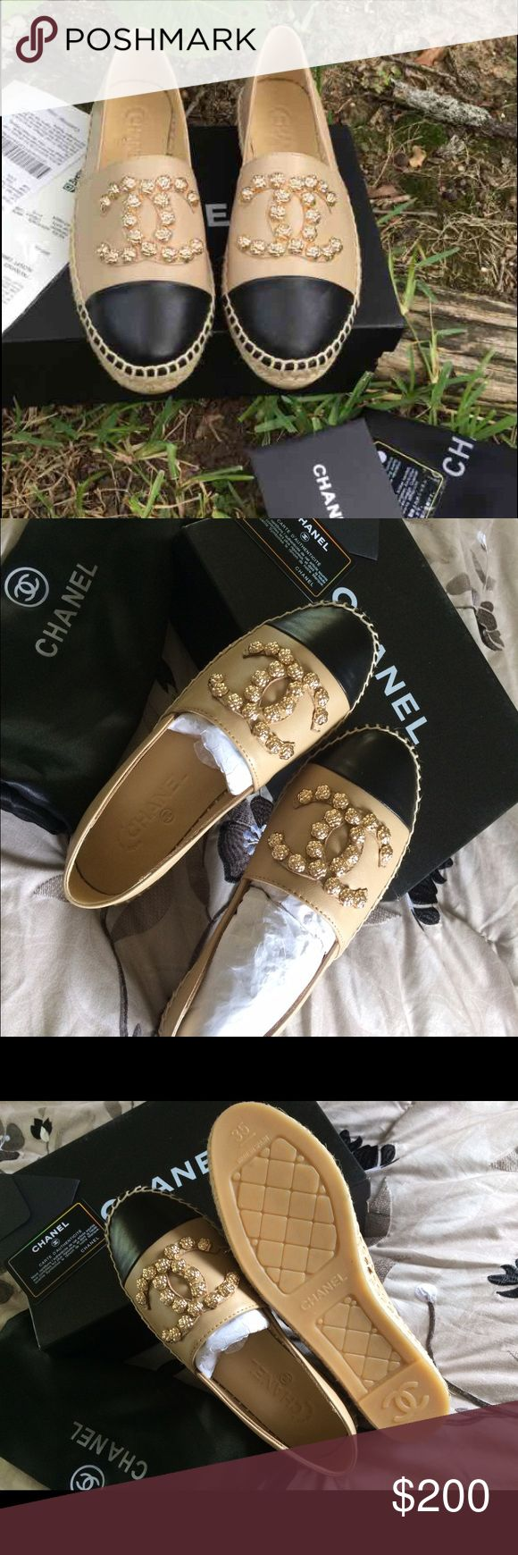 Chanel espadrilles SAME DAY SHIPPING , SIZE 5. COME WHIT DUST BAG AND BOX, PRICE REFECT, GREAT QUALITY MATERIAL , PRICE IS FIRM, IF YOU HAVE A PROBLEM WHIT YOUR ORDER PLEASE CONTACT ME BEFORE , THANK YOU :) CHANEL Shoes Espadrilles