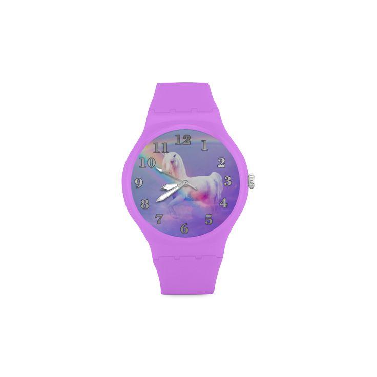 Unicorn and Rainbow Unisex Round Rubber Sport Watch(Model 303)