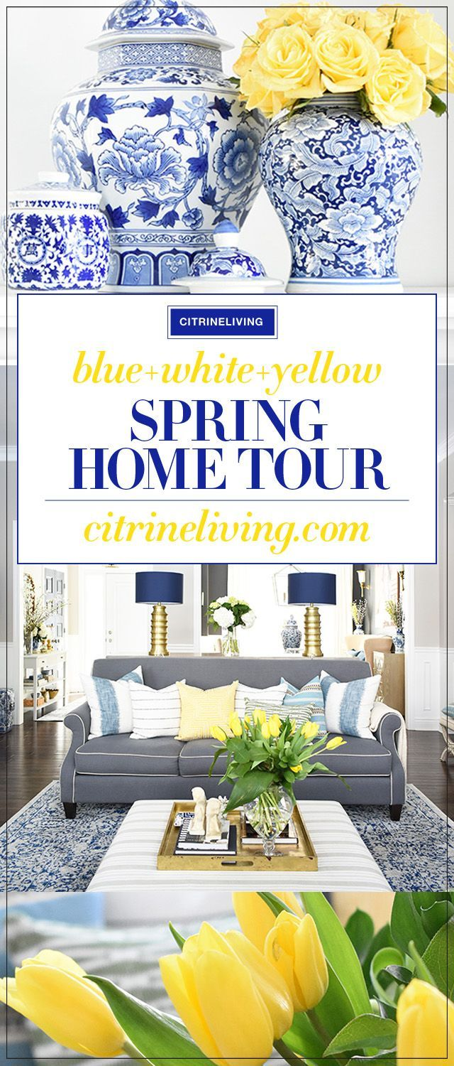 Elegant Spring decorating using pretty blue and vibrant yellow accents along with real and faux florals to help bring a sophisticated yet relaxed feel to your home. #spring #springhometour #springdecor #blueandwhite