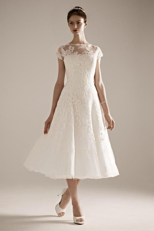 Perfect vintage wedding dress with lace illusion neckline by Oleg Cassini.