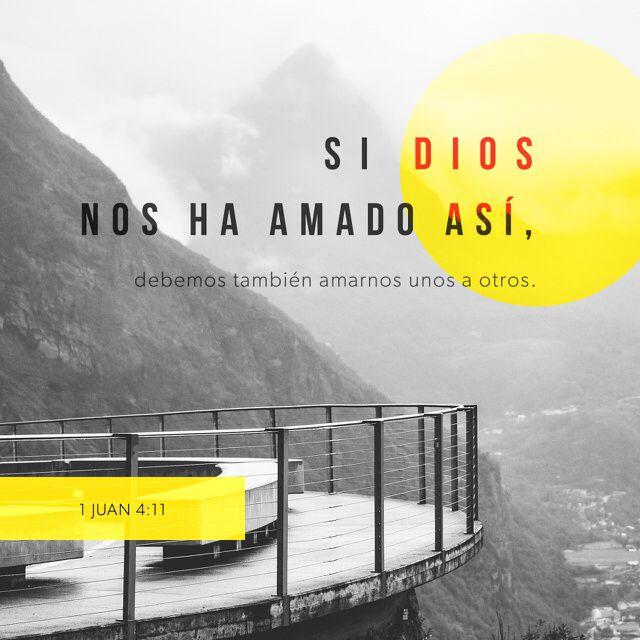 """""""Amados, si #Dios nos ha amado así, debemos también nosotros amarnos unos a otros. Nadie ha visto jamás a Dios. Si nos amamos unos a otros, Dios permanece en nosotros, y su #amor se ha perfeccionado en nosotros."""" #1 Juan 4:11-12 RVR1960 http://bible.com/149/1jn.4.11-12.rvr1960"""