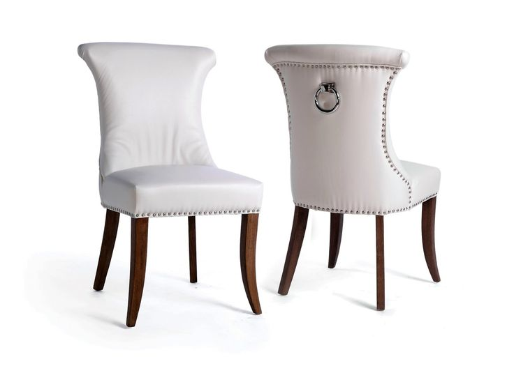 White Leather Dining Room Chairs