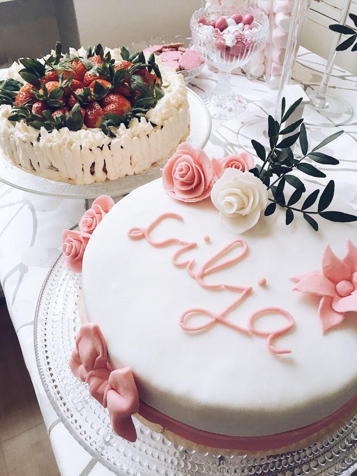Sokerimassakakku, sokerimassakoriste, sokerimassaruusu, täytekakku, vadelmakreemi, ristiäiset, christening cake, cake decoration, cakeart