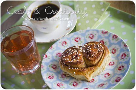 Heart-shaped cinnamon rolls/buns (kanelbullar) on Cinnamon Bun Day (Kanelbullens dag), Oct 4.