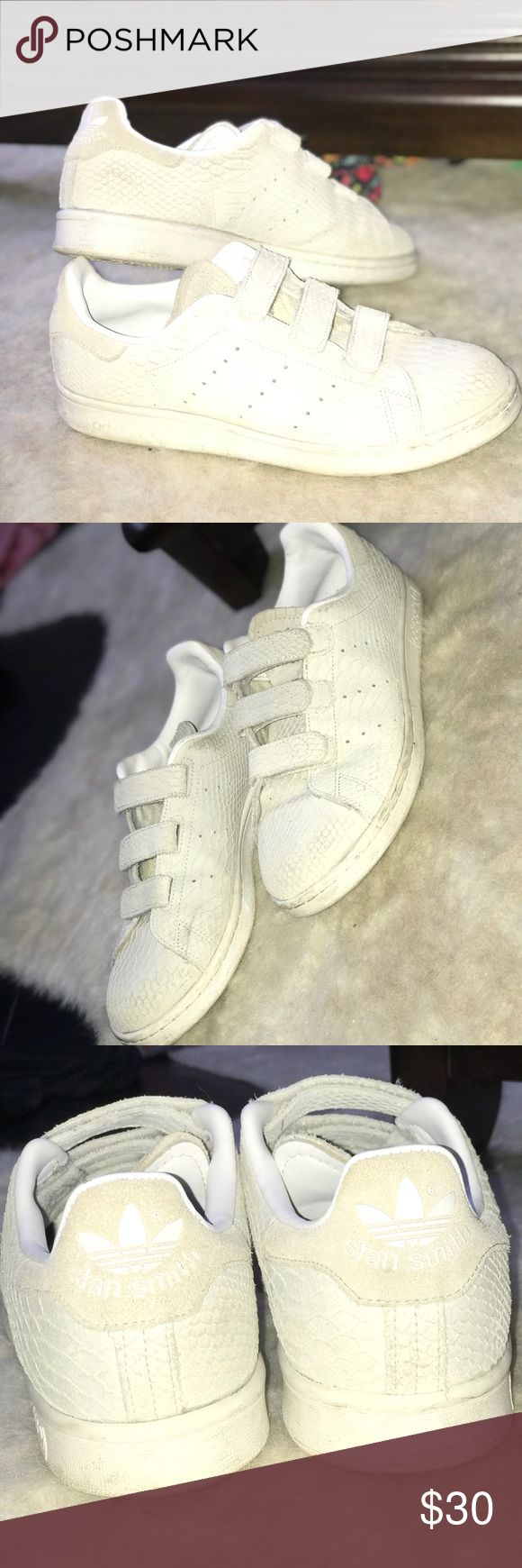 Stan Smith Adidas Suede Snake Skin Velcros normal wear and tear, can be cleaned with a damp rag and soap run big, i am usually a 9.5 in shoes adidas Shoes Sneakers