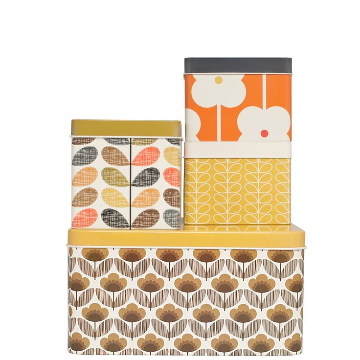 Orla Kiely: Set of 4 square biscuit and cracker tins, each featuring a signature print. Handwash only.