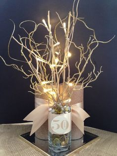 fiftieth wedding anniversary party centerpieces - Buscar con Google