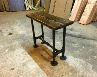 End Table Pipe Industrial Side Table Reclaimed Upcycled