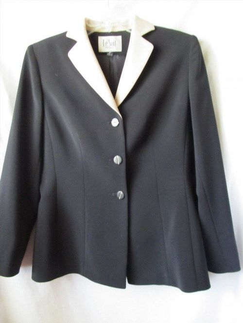 17.73$  Watch now - http://viqbz.justgood.pw/vig/item.php?t=t71dglw28989 - LeSuit womens two tone sz 4 petite blazer jacket black and taupe 17.73$