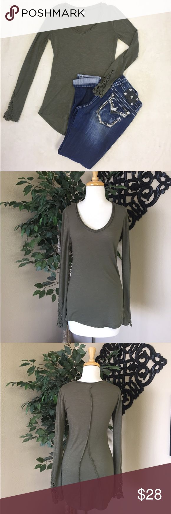 Others Follow Long Sleeve Adorable olive green long sleeve top with fun hems and crocheted sleeves. Only worn once! Excellent condition!! Make an offer! Others Follow Tops Tees - Long Sleeve